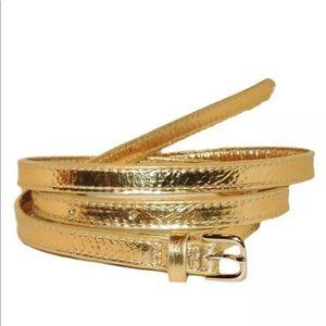 NWT Dries Van Noten Slim Gold Metallic Belt Sz 85